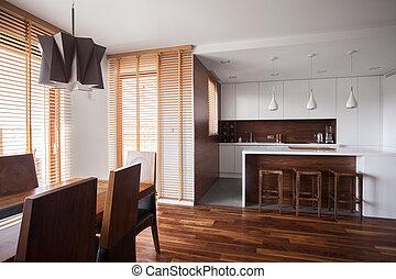 otwarty, kuchnia, w, rówieśnik, projektować, dom