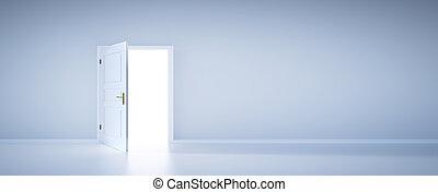 otwarty, lekki, nowe życie, drzwi
