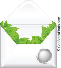 otwarty, liście, koperta
