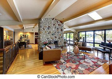 otwarty, nowoczesny, luksus dom, wewnętrzny, życie pokój, i, kitchen.