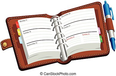 otwarty, pamiętnik, leatherbound