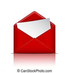 otwarty, papier, koperta, czerwony