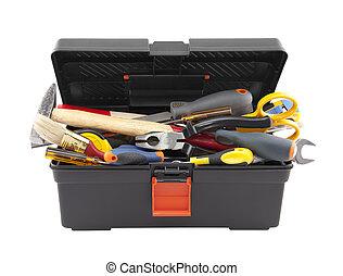 otwarty, skrzynka na narzędzia, czarnoskóry, narzędzia