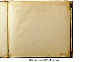 otwarty, stary, czysta książka, odizolowany, na białym