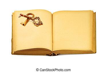 otwarty, stary, książka, z, klucz, motyw