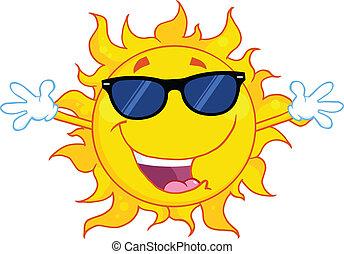 otwarty, sunglasses, herb, słońce