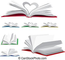 otwarty, wektor, komplet, książka