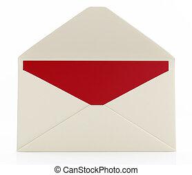 otwarty, wiadomość, koperta, karta
