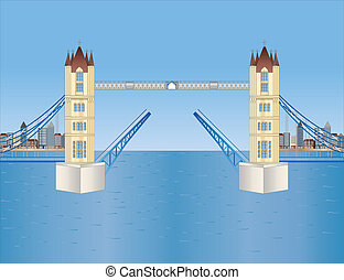 otwarty, wieża most, w, londyn