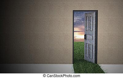 otwarty, world., drzwi, nowy