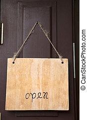 otwarty znaczą, na, sklep, drzwi