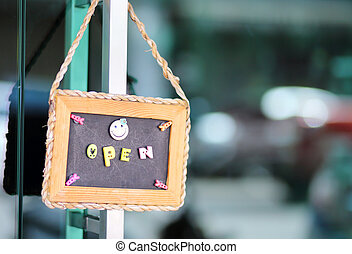 otwarty znaczą, szeroki, na, sklep, drzwi