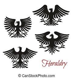 ou, águia, símbolo, pássaro, pretas, falcão, falcão, heraldic
