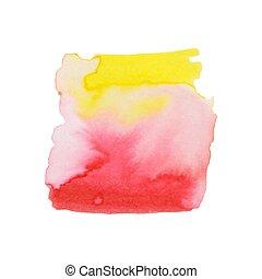 ou, éléments, fond, impression, résumé, composition, aquarelles, toile, étiquette, peinture aquarelle, couleurs, utilisé, paper., mouillé, album, tache, main, conception, illustration