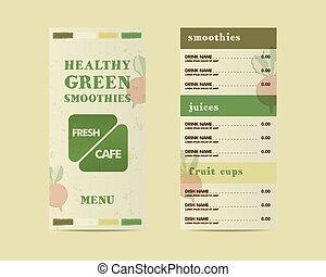 ou, énergique, boisson, cru, concept., life., vecteur, vert, fait, plat, organique, café, éléments, jus, organique, sain, style., shake., frais, menu, restaurant
