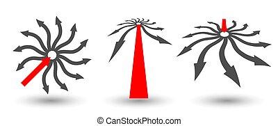 ou, équipe, idée, perspectives., cercle, formé, concept, différent, arrows.