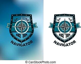 ou, étiquette, emblème, navigateur, marin, vendange