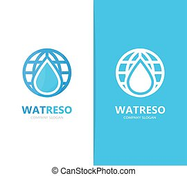 ou, óleo, combination., símbolo, gota, aqua, logotype, template., planeta, vetorial, desenho, água, logotipo, mundo, icon., original, globo