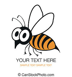 ou, abeille, choqué, guêpe, rigolote, design.