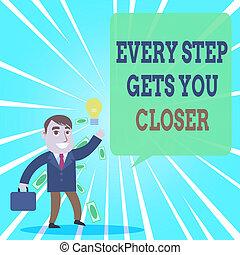 ou, alcance, idéia, foto, conceitual, escriturário, objetivos, passo, gerando, closer., adquire, sinal, mantenha, sucedido, mostrando, tu, bom, homem negócios, cada, solution., texto, em movimento, seu, metas, achando