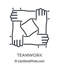 ou, amigos, trabalho equipe, mãos