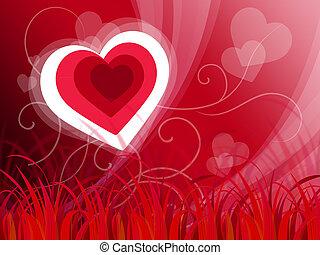 ou, amour, paisible, fond, cœurs, spectacles, paysage, ...
