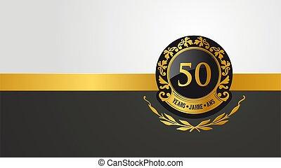 ou, anniversaire, anniversaire, 50th, pictogramme