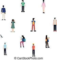 ou, arrière-plan., caractères, gens, foule, isolé, ensemble, vecteur, dessin animé, plat, mâle, bird., extérieur, debout, femelle attente, activités, groupe, blanc