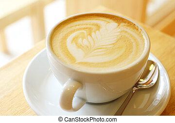 ou, arte, copo, cappuccino, latte, café