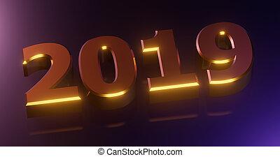ou, bandeira, feliz, sinal., cartaz, festivo, ano novo, design., 2019., realístico, feriado, luz, 3d, half-flowers, numerais, ouro, cinzento, ilustração, fundo, effects., 2019