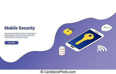 ou, bannière, atterrissage, isométrique, page accueil, téléphone, concept, mobile, vecteur, gabarit, sécurité, -, site web