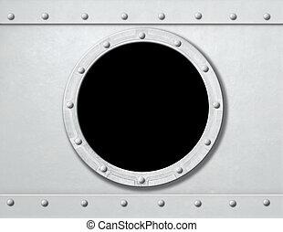 ou, bateau, métal, fond, cadre fenêtre, hublot, blanc