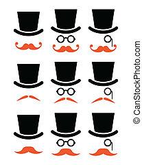 ou, bigode, gengibre, bigode, ícones