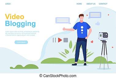 ou, blogging, vídeo, vlogging, conceito