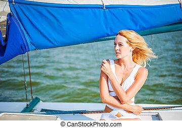 ou, bote, iate, vela, sentando, mulher