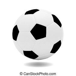 ou, boule football, noir, sport récréation, modèle, isolé, football, conceptions, fond, 3d, blanc