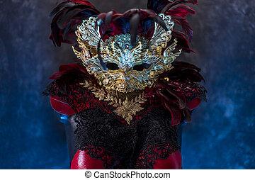 ou, breastplate., ouro, feito à mão, reuniões, metal, máscara, pedaços, veneziano, vermelho, pretas, partidos traje, colete, piea, tecidos, vermelho, renda