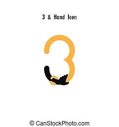 ou, business, template., 3-, symbole, offre, concept., icône, constitué, vecteur, mains, association, nombre, conception, aide, soutien, logotype, résumé, industriel, créatif, espoir
