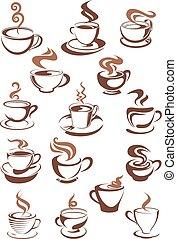 ou, café, chocolat, brun, tasses, latte, cappuccino, express