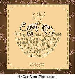 ou, café, lettrage, ton, jouir de, logo, main, dessiné, fond