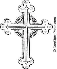 ou, católico, ortodoxo, esboço, crucifixos