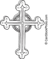 ou, catholique, orthodoxe, croquis, croix