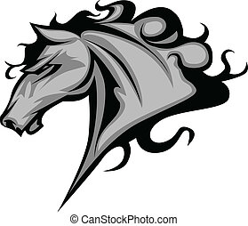 ou, cavalo selvagem, mascote, garanhão