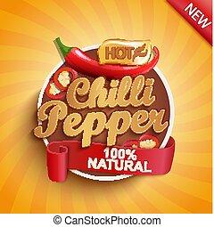ou, chaud, étiquette, poivre, sticker., chilli, logo