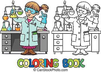 ou, cientista, coloração, engraçado, químico, livro