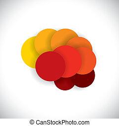 ou, circles., résumé, icône, cerveau, vecteur, esprit, concept