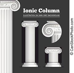 ou, colonne, grec, ionique, classique, romain