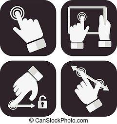 ou, concept, icones affaires, dents, industrie, poussée bouton, une, tenu, divers, engrenages, mains, lancement, entrepreneurship, début
