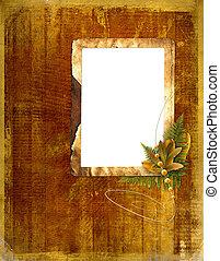 ou, convites, folhas, foto, outono, estrutura