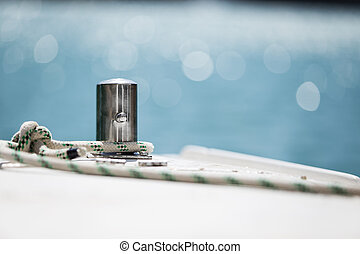 ou, corde, attaché, bateau, bateau, amarrage, autour de, ...